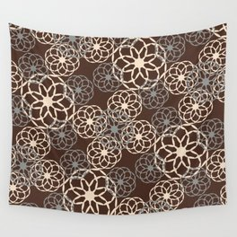 Brown and Silver Floral Pattern Wall Tapestry