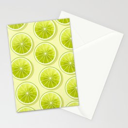 Lime Slices on Light Yellow Stationery Cards