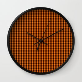 Dark Pumpkin Orange and Black Gingham Check Pattern Wall Clock