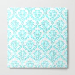 DAMASK AQUA BLUE Metal Print