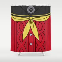 persona Shower Curtains featuring Persona 4 Yukiko Amagi Uniform by Bunny Frost