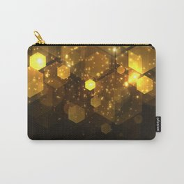 Shiny Gold Hexagon Geometric Patterns Carry-All Pouch