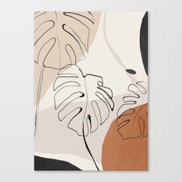 Minimal Abstract Art- Monstera Canvas Print