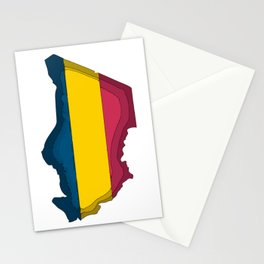 Chad Map with Chadian Flag Stationery Cards