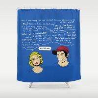 kim sy ok Shower Curtains featuring OK OK OK by Sarinya  Withaya