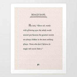 Roald Dahl Quote - Glittering Eyes Art Print