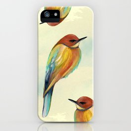 Watercolor Bird Pattern - Multicolor Feathers iPhone Case