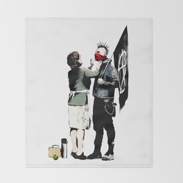 Banksy, Anarchist Punk And His Mother Artwork, Posters, Prints, Bags, Tshirts, Men, Women, Kids Throw Blanket