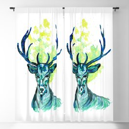 Blue Deer in the Headlight Blackout Curtain