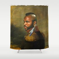 replaceface Shower Curtains featuring Mr. T - replaceface by replaceface