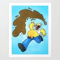 simpson Art Prints featuring Homer Simpson by Joe McGro
