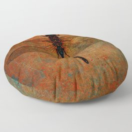 Dragonfly On Orange and Green Background Floor Pillow