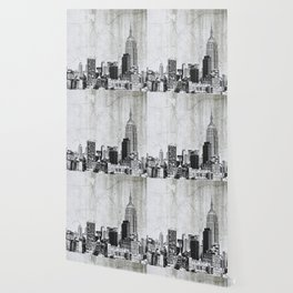 New York City Skyline Gray Texture Wallpaper