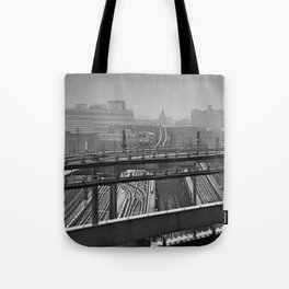 Tales of a Subway Train in Black and White Tote Bag