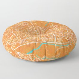 Slough, England, Gold, Blue, City, Map Floor Pillow