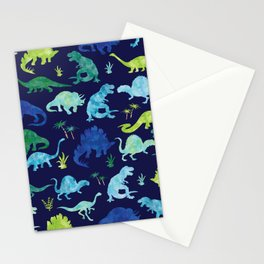 Watercolor Dinosaur Blue Green Dino Pattern Stationery Cards