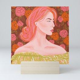 Lady with pink hair Mini Art Print