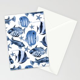 Fish Underwater Watercolor Pattern Stationery Cards