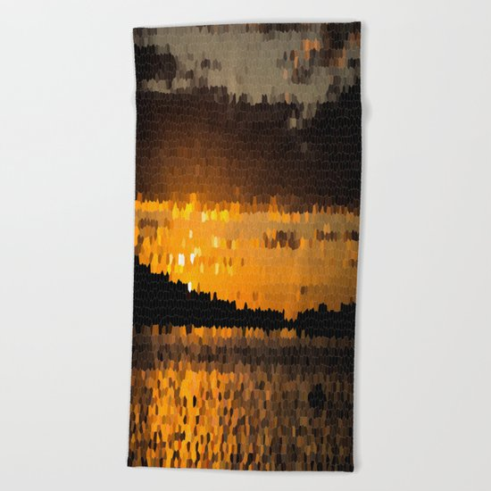 Autumn Sunset Beach Towel
