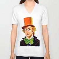 willy wonka V-neck T-shirts featuring Wonka by Jordan Soliz