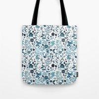 oana befort Tote Bags featuring Blue Meadow by Oana Befort