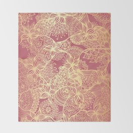 Pink and Gold Mandala Doodle Patterns Throw Blanket