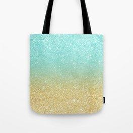 Modern robbin egg blue glitter ombre gold glitter Tote Bag