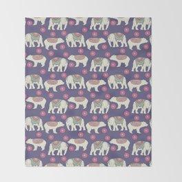 Vintage ethnic Indian elephant wild bear Throw Blanket