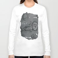 outer space Long Sleeve T-shirts featuring Outer Space Shark by Pink Shark Scales