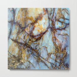 Natural turquoise and gold stone Metal Print