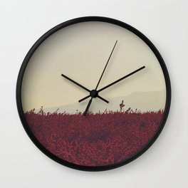 Field of Red Wall Clock