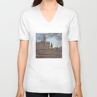 college V-neck T-shirts featuring Crouse College, Syracuse University by Ken Coleman