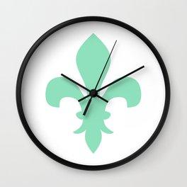 Fleur de Lis (Mint & White) Wall Clock