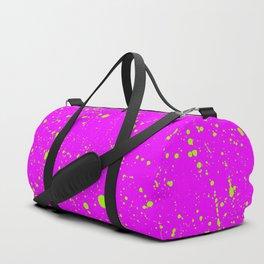 Neon Yellow Spray Splatters on Fuchsia Surface Duffle Bag