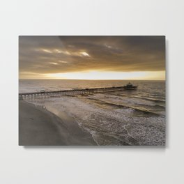 Folly Beach Pier in Gold Metal Print