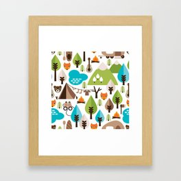Wild camping trip with fox and wild animals illustration Framed Art Print