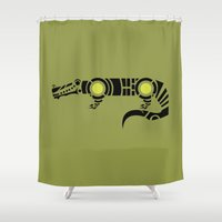 crocodile Shower Curtains featuring Crocodile by Hinterlund