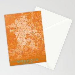 Mendoza, Argentina, Gold, Blue, City, Map Stationery Cards