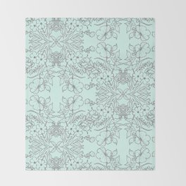 Dotted Floral Scroll in Mint and Grey Throw Blanket