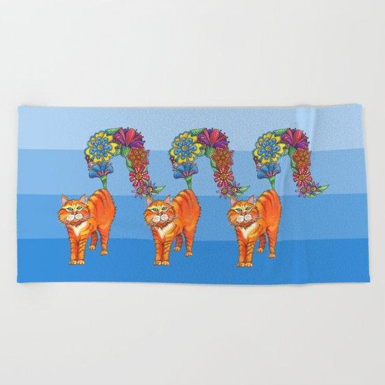 Three Blooming Kitties Beach Towel
