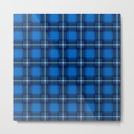 Scottish Tartan Blue Metal Print