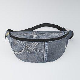 Blue Jeans Denim Patchwork Pattern Fanny Pack