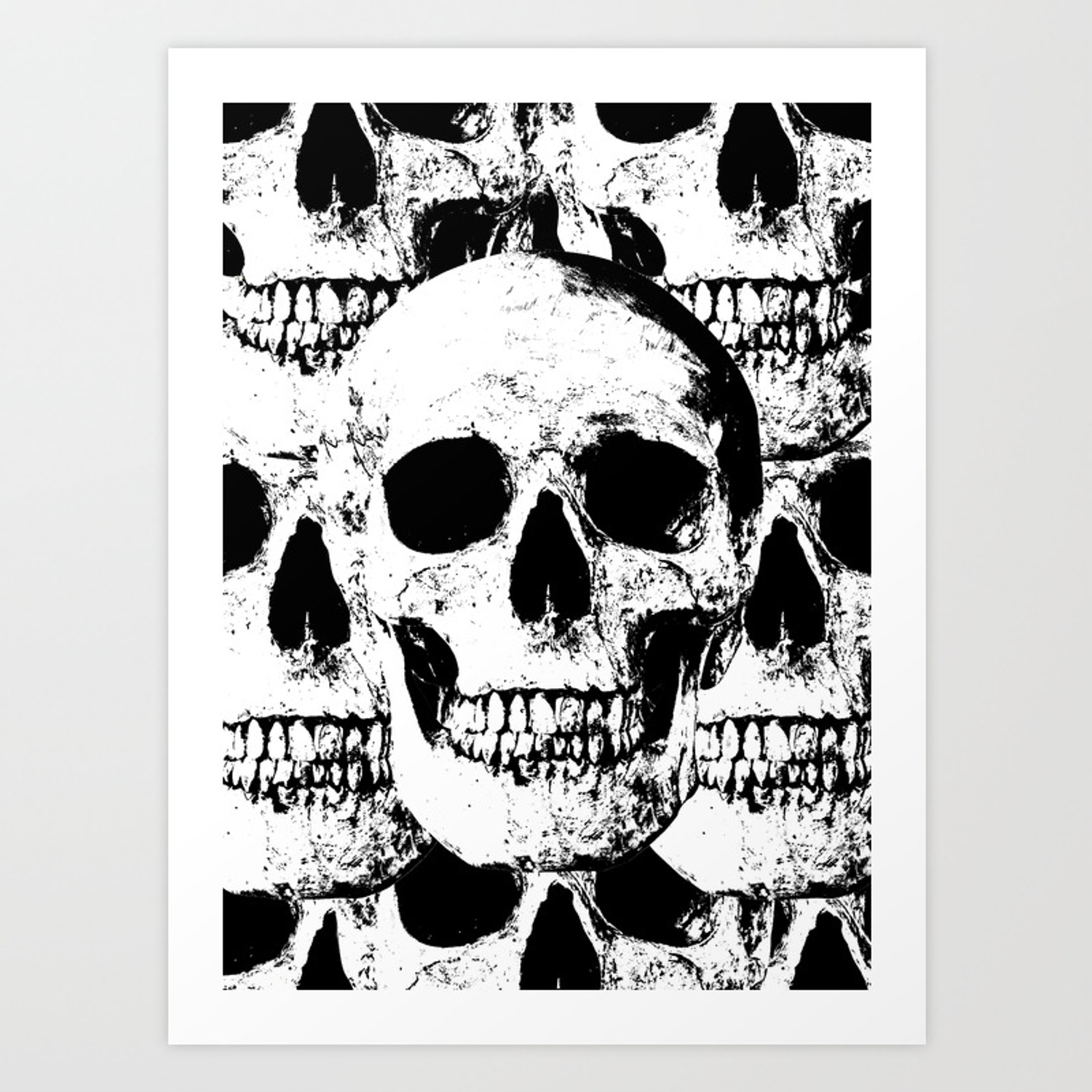 Skulls black white art print