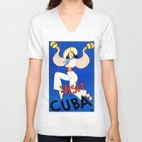 cuba V-neck T-shirts featuring CUBA by Kathead Tarot/David Rivera