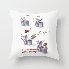 Greeting for Quitting Smoking-Cat Throw Pillow
