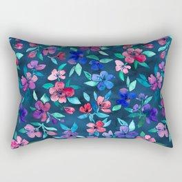 Southern Summer Floral - navy + colors Rectangular Pillow