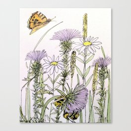 Bees Butterfly Thistle Watercolor Illustration Nature Art Canvas Print