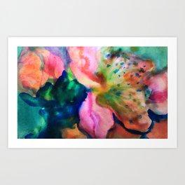 blue pink blossom Art Print