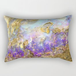 Shimmery Blue & Purple Opal Encrusted in Gold Rectangular Pillow