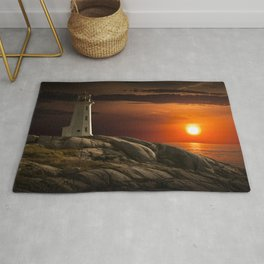 Lighthouse at Sunset in the Peggy's Cove Rug